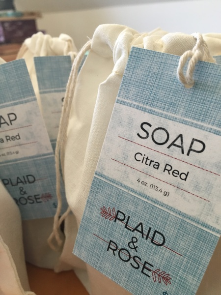 Citra Red Plaid & Rose Beer Soap