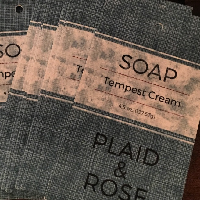 Plaid and Rose Tempest Cream tag